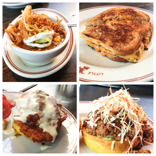goat chili, patty melt, chicken cordon bleu sandwich, sloppy goat