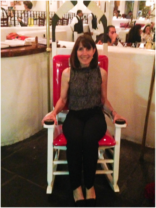 my beautiful mother-in-law was so happy to see a blackhawks chair at our favorite greek restaurant!